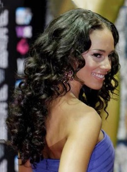 Beautiful Celebrity Hairstyle Long Curly Black Hair 22 Inches 100% Human Hair Lace Front Wig