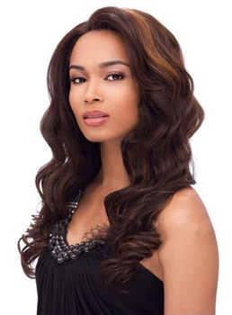 Elegant Celebrity Hair Beyonce Long Wave Brown Remy Hair Lace Front Wig 20 Inches