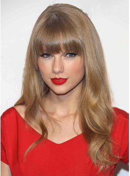Taylor Swift Hairstyle Long Loose Wave Remy Human Hair Wigs 18 Inches