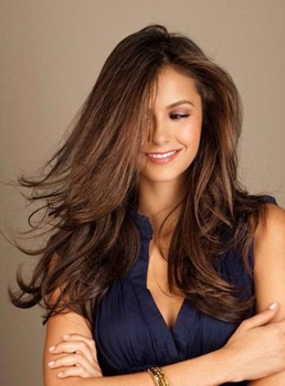 Nina Dobrev Long Loose Wave Human Hair Lace Front Wigs 20 Inches