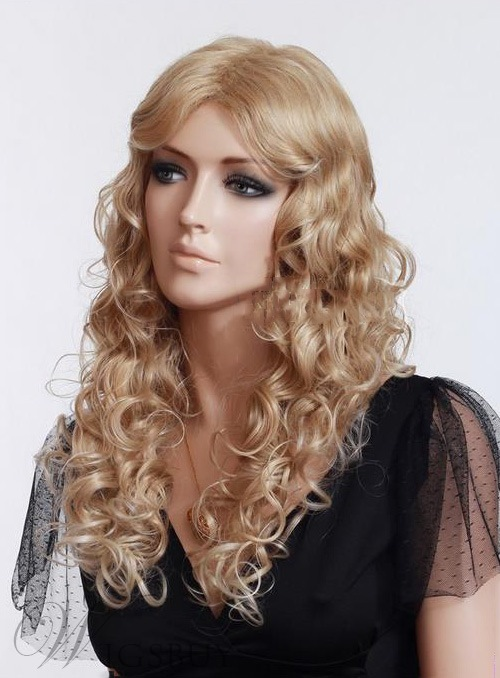 High Quality Celebrity Wig Rihannas Hairstyle Long Curly Blonde hair Lace Front wig Remy Human Hair 22 Inches 11128649