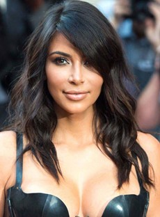 Stylish Long Loose Wave Kim Kardashian's Human Hair Wig 16 Inches