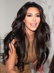 Long Natural Wave Kim Kardashian Lace Front Human Hair Wigs 24 Inches