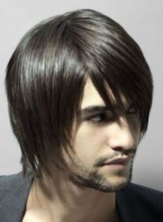 Handsome Soft Medium Straight Men's Wig 100% Human Hair 8 Inches