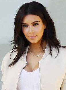 Kim Kardashian Long Straight Lace Front Human Hair Wigs 14 Inches