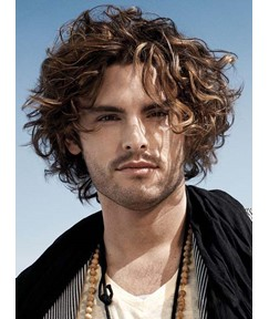Top Quality Short Curly Full Lace Men's Wig 100% Human Hair