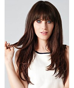 Zooey Long Straight Capless Human Hair Wigs 22 Inches