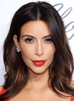 Kim Kardashian Long Loose Wave Lace Front Human Hair Wigs 14 Inches