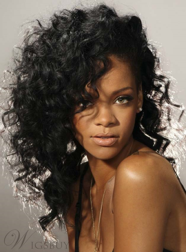 haircut wigs curly black rihanna s lace front human hair 2122