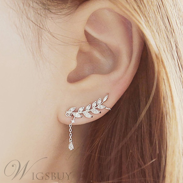 62 New Korean Style Leaf With Crystal Pendant Irregular Earrings For Women