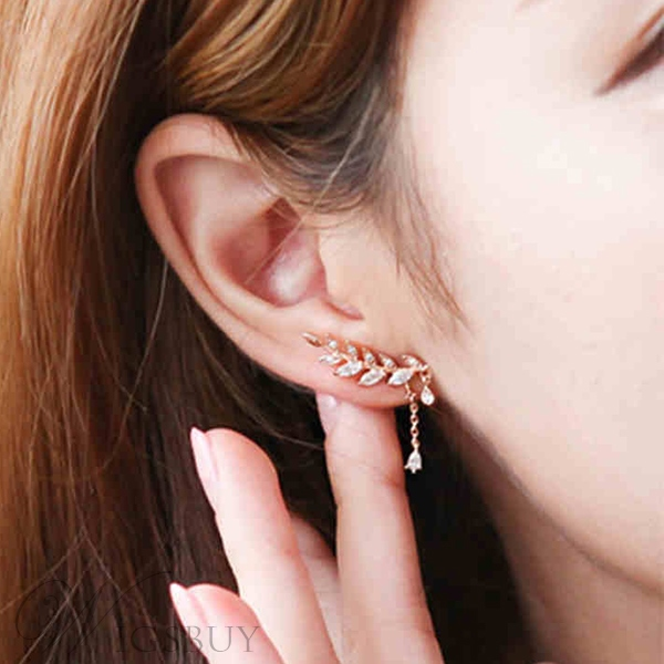 New Korean Style Leaf with Crystal Pendant Irregular Earrings for Women