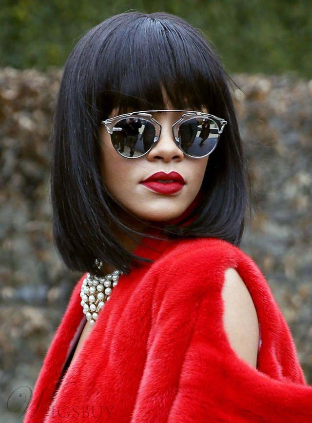 Rihanna Medium Straight Capless Human Hair Wigs 12 Inches
