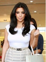 Kim Kardashian Long Loose Wave Hairstyle Lace Front Human Hair Wigs 18 Inches
