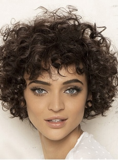 Popular Hand Made Short Curly 100% Human Hair Wigs