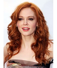 Graceful Long Curly Lace Front Human Hair Wig 20 Inches