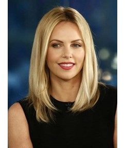 Enchanting Mid-length Straight Blonde Lace Front Human Hair Wig 12 Inches