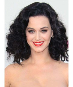 Katy Perry Medium Curly Lace Front Human Hair Wigs 12 Inches