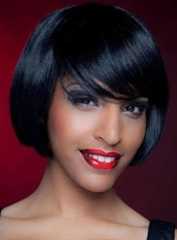 Modern lovely Short Straight Capless Human Hair Wigs For Black Women