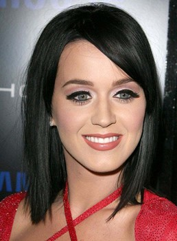 Katy Perry Medium Straight Blunt Cut Lace Front Human Hair Wigs 12 Inches