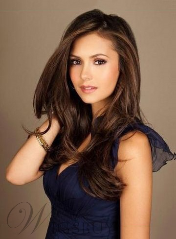 Nina Dobrev Fabulous Attractive Long Straight Front Lace Human Hair Wigs 20 Inches