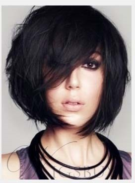 Fascinating Sexy Short Straight Human Hair Monofilament Top Wig 8 Inches