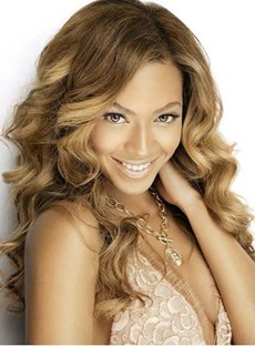 Top Quality Long Deep Wave Beyonce Hairstyle Lace Front Human Hair Wig 18 Inches