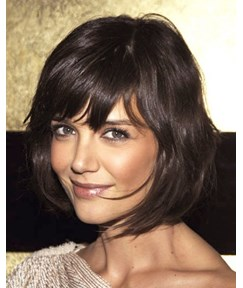 Deluxe Beautiful Short Loose Wave 100% Human Hair Capless Wigs with Full Bangs 10 Inches