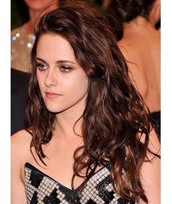 Kristen Stewart Long Deep Wave Lace Front Human Hair Wigs 18 Inches