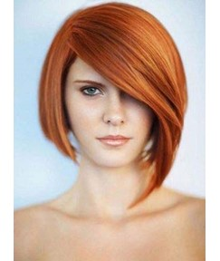 Fashionable New Arrival Short Straight Asymmetric Human Hair Wigs 8 Inches