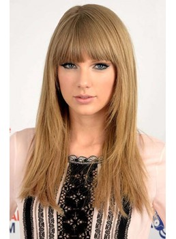 Long Straight Taylor Swift Full Bang Hairstyle Human Hair Wigs 16 Inches