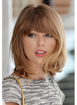 Youthful Short Loose Wave Taylor Swift Hairstyle Human Hair Wig 10 Inches