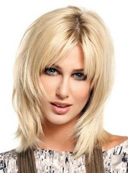 Youthful Long Layered Straight Light Golden Lace Front Human Hair Wig 12 Inches