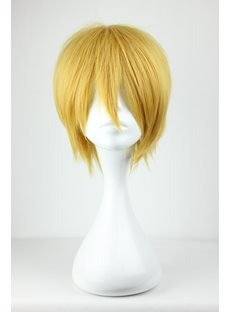 Short Layered Straight Yellow Synthetic Hair Cosplay Wigs