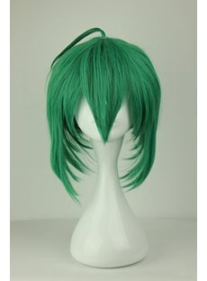 Charming Long Layered Straight Dark Green Cosplay Wig 14 Inches