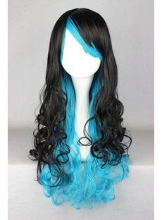Japanese Lolita Style Gradient Color Black and Blue Cosplay Wigs 26 Inches