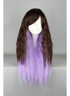 Japanese Lolita Style Gradient Color Grey and Purple Cosplay Wigs 28 Inches