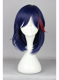 KILL la KILL Hairstyle Medium Straight Blue with Red Highlights Cosplay Wig