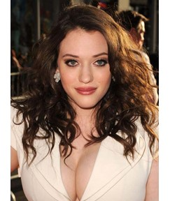Kat Dennings Long Curly Lace Front Human Hair Wigs 16 Inches