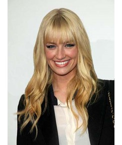 Beth Behrs Long Loose Wave Capless Human Hair Wigs 16 Inches