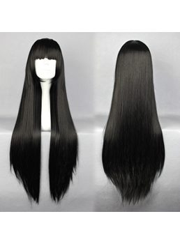 InuYasya Kikyou Hairstyle Long Straight Black Cosplay Wig 30 Inches