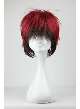 Cool Short Straight Dark Red with Black Mixed Synthetic Hair Cosplay Wigs
