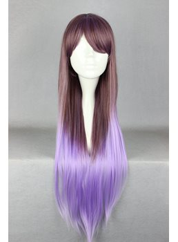 Japanese Lolita Style Gradient Color Grey and Purple Cosplay Wigs 32 Inches