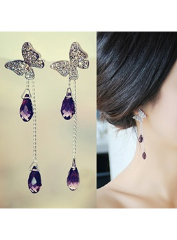 New Arrival Beautiful Crystal Butterfly Tassel Earrings