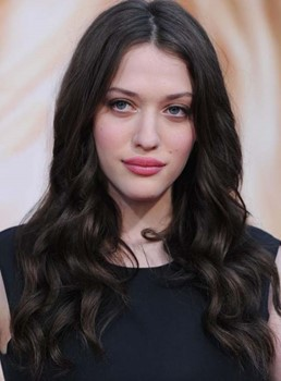 Kat Dennings Long Deep Wave Lace Front Human Hair Wigs 18 Inches
