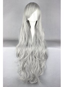 Salt and Pepper Long Curly Silver Synthetic Hair Cosplay Wigs 36 Inches