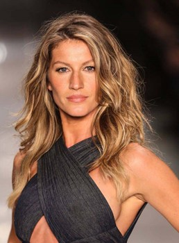 Gisele Bundchen Hairstyles Women's Long Length Natural Wave Human Hair Lace Front Wig 14 Inches