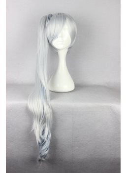 Weiss Schnee Hairstyle Long Bottom Wave with Side Ponytail Mixed Color Cosplay Wig 30 Inches
