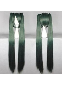 Vocaloid Miku Hair Dark Green Long Straight Synthetic Cosplay Wig with Ponytails 50 Inches