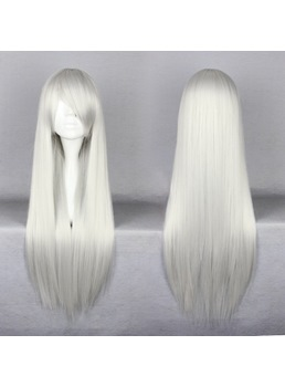 Conan Gin Hairstyle Long Straight Silver Cosplay Wigs 30 Inches