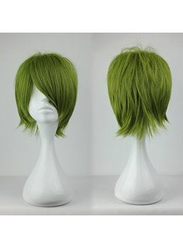 Cool Green Layered Straight Synthetic Hair Cosplay Wig